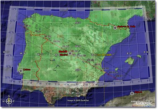 Mapa do eclipse anular de 3 de Outubro de 2005 para a Península Ibérica
