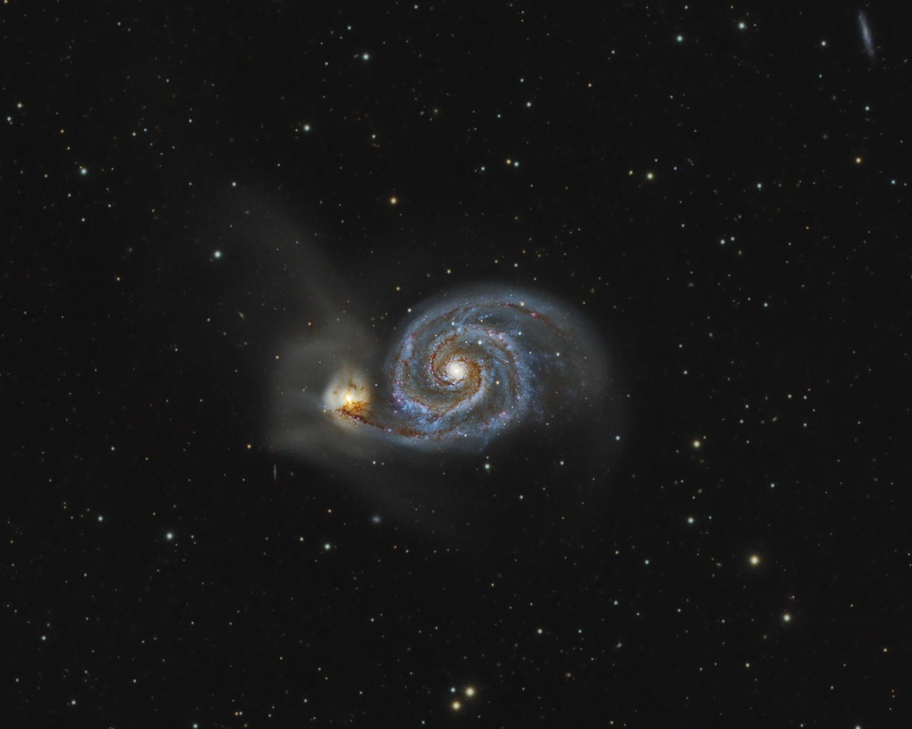 M51.jpg -          texto_bright    Object:M51 Whirlpool Galaxy   Date:21-03, 02-05, 15-05-2009   Observingsite: FNO (Fosca Nit Observatory, Àger)   Telescope: TakahashiTOA-150  @ f/7.3 on EM-400 mount   Camera:SBIG STL-11000M  @ -20C   Filters: Baader RGB   Exposure:5 x 30 min R; 5 x 30 min G; 5 x 30 min B (all unbinned).  Totalexposure: 7,5 h     Guiding: Camera guide chip     Software:Guide & camera control: CCDSoft. Processing: PixInsight 1.5 Comment: Pure RGB image.