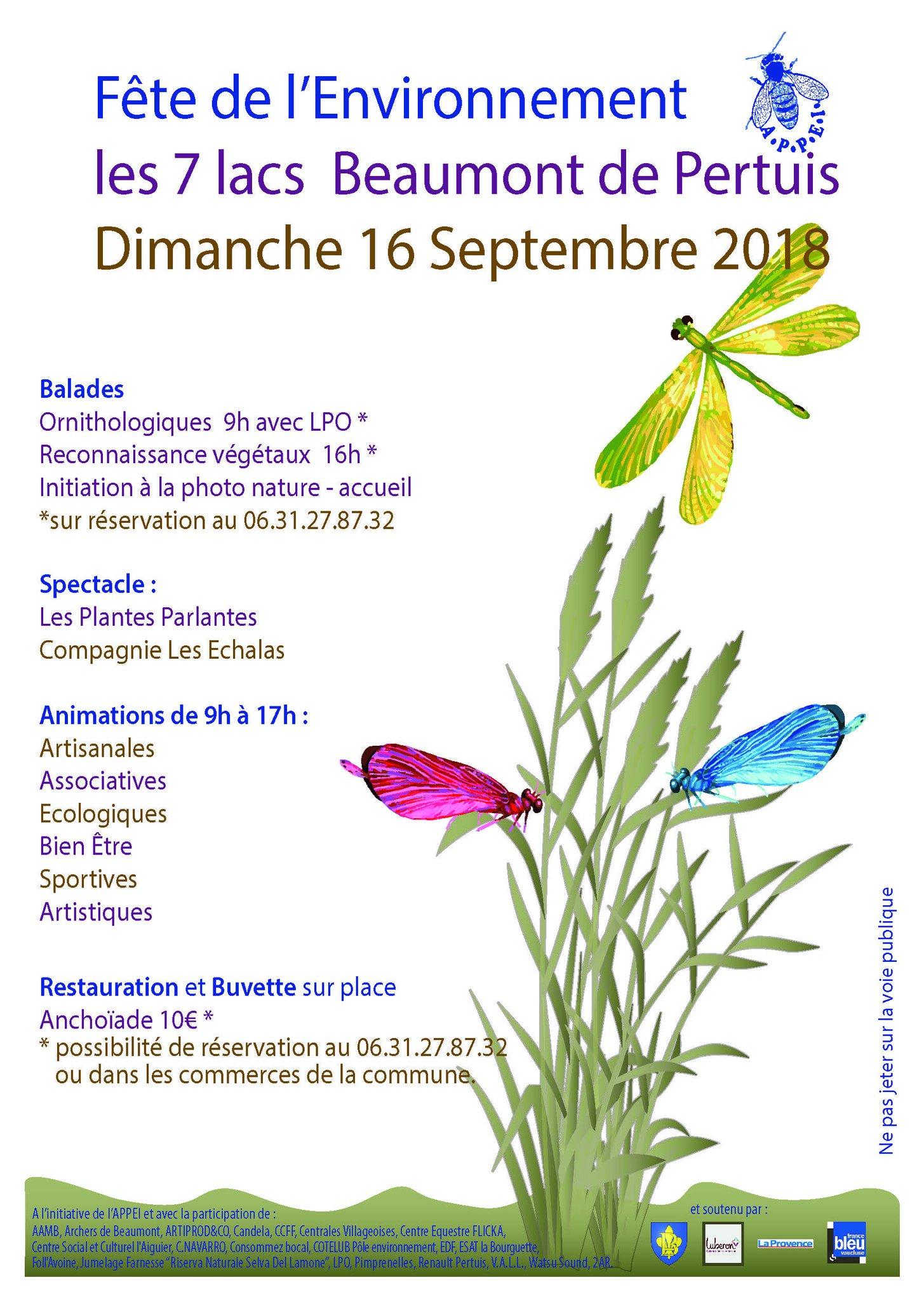 16 Septembre, Fête de l'environnement aux 7 lacs, à Beaumont de Pertuis Affiche_large