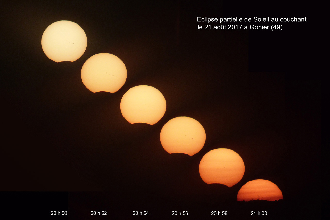 Eclipse partielle de Soleil du 21 aout 2017 à Gohier (49) France